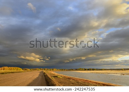 Dramatic Morning Clouds in New Mexico - stock photo