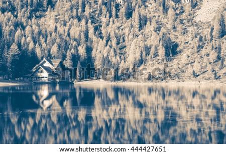 Dramatic Mountain Landscape, Black and White Image - stock photo