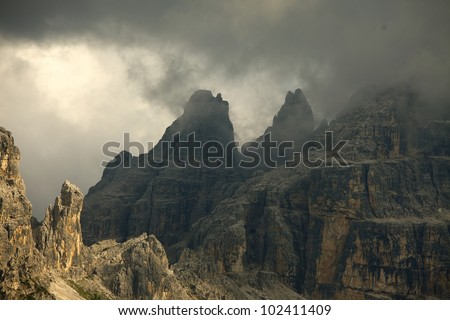 Dramatic mountain landscape in the dolomites - stock photo