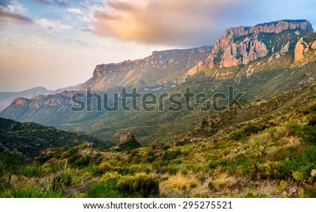 Dramatic Mountains at Big Bend National Park - stock photo