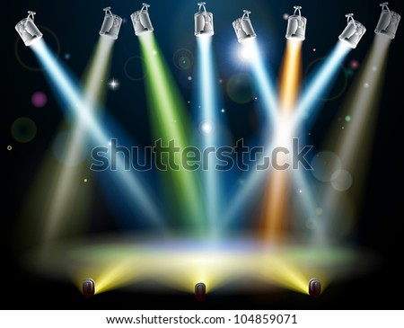 Dramatic multicolored lights like those on a dance floor in a disco or used in a stage light show - stock photo