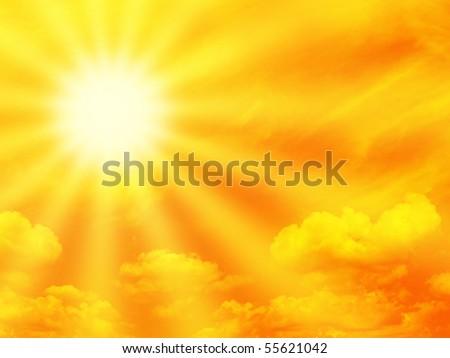 Dramatic orange sky and sunbeam. - stock photo