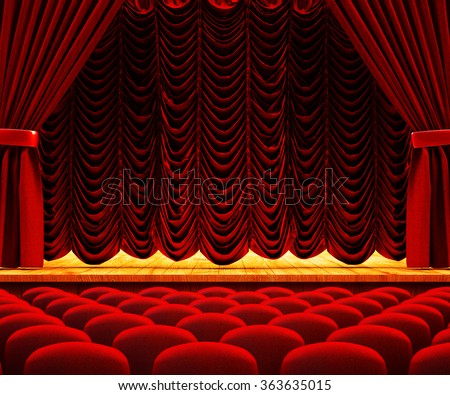 Dramatic performance and drama show concept, theatre auditorium, theater hall interior with wooden stage, red velvet curtains and seats - stock photo
