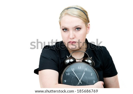Dramatic portrait of a frightened girl with a very emotional expression isolated on a white background  - stock photo