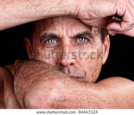 Dramatic Portrait of a Handsome Middle Aged Man - stock photo