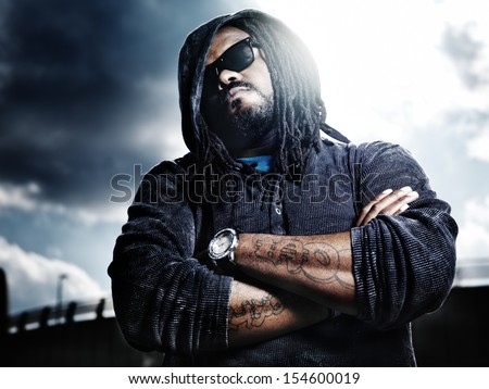 dramatic portrait of serious african man. - stock photo