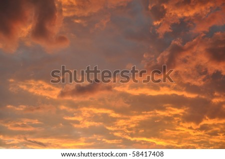 Dramatic red evening sky - stock photo