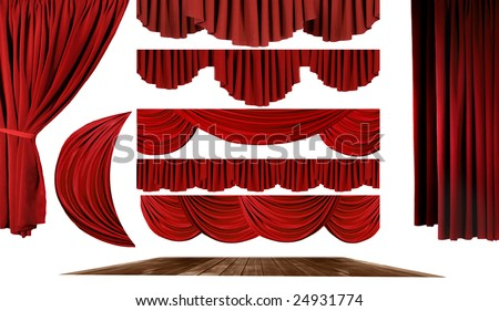 Dramatic red old fashioned elegant theater stage elements of swags to make your own background - stock photo