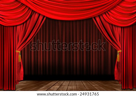 Dramatic red old fashioned elegant theater stage with velvet curtain drapes - stock photo