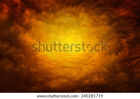 Dramatic religious background - apocalyptic red clouds, way to hell - stock photo