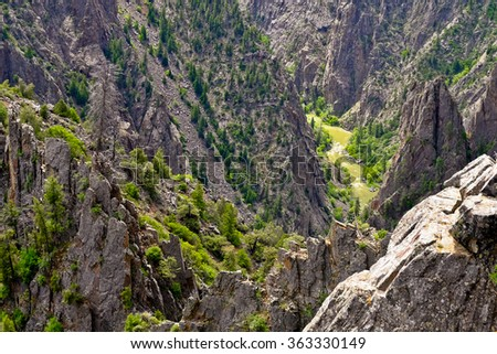 Dramatic River Canyon, Tomichi Point.  Black Canyon Of the Gunnison National Park, Colorado. - stock photo