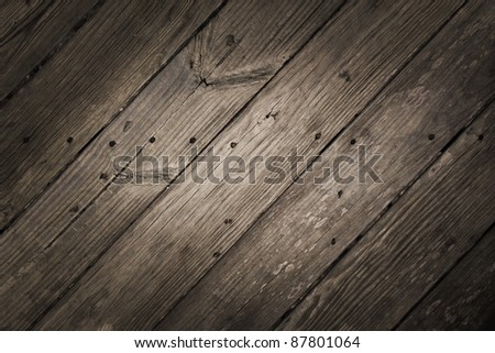 Dramatic Rustic Diagonal Wood Planks - stock photo