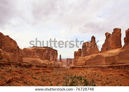 Dramatic sandstone cliffs in Arches National Park, Utah, USA - stock photo