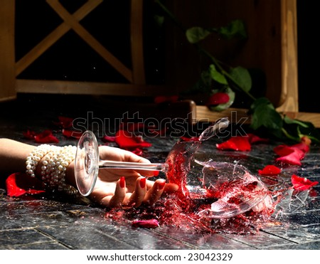 Dramatic scene of broken wineglass in dynamic.  Very high resolution. - stock photo