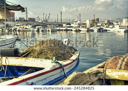 Dramatic Scene of Fishing Boats in HDR  - stock photo