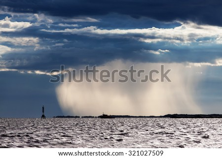 Dramatic scene of ocean before storm - stock photo