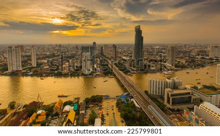 Dramatic scenery of the city center at sunset, Bangkok Thailand - stock photo