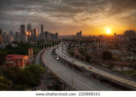 Dramatic scenery sunset of the city center at Kuala Lumpur, Malaysia, Asia - stock photo
