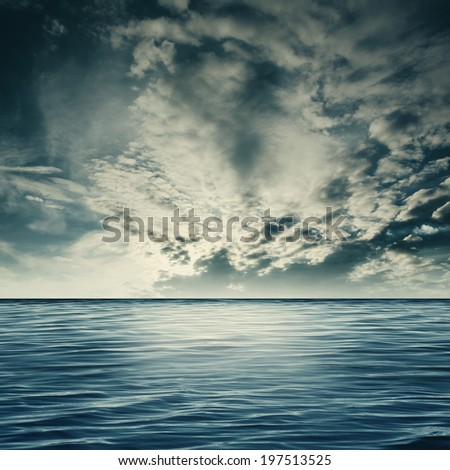 Dramatic sea, natural landscape with clouds and sea surface - stock photo
