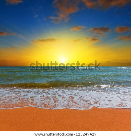 dramatic sea sunrise - stock photo