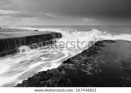 Dramatic seascape at Tanah Lot, Bali, Indonesia - stock photo