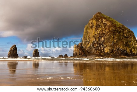 Dramatic seascape of wild and rugged Oregon coastline. Tufted Puffins migration and nesting at Haystack Rock in Cannon Beach. - stock photo