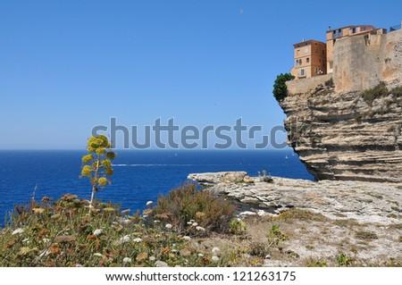 Dramatic Shoreline at City of Bonifacio - Corsica - France - stock photo