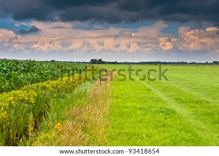 dramatic sky above dutch agricultural landscape - stock photo