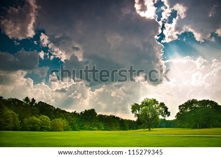 Dramatic sky after a summer storm - stock photo