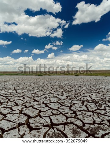 dramatic sky and drought earth