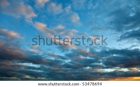 Dramatic sky at sunset - stock photo