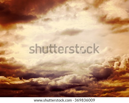 Dramatic sky background, ideal inspirational etc with copy space. Filtered image. - stock photo