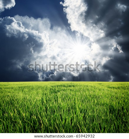 Dramatic sky before storm. Dark ominous clouds. - stock photo