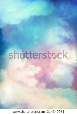 Dramatic sky digital watercolor painting background