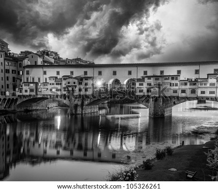 Dramatic sky in Florence, Ponte Vecchio, Italy - stock photo
