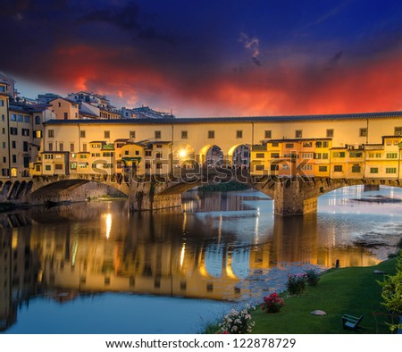 Dramatic sky in Florence, Ponte Vecchio, Italy