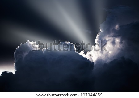 dramatic sky in the evening - stock photo