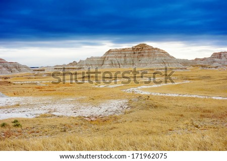 Dramatic sky on Badlands National Park, South Dakota, United States