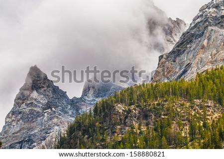 Dramatic Sky over Beautiful Cascade Canyon - Grand Tetons - stock photo