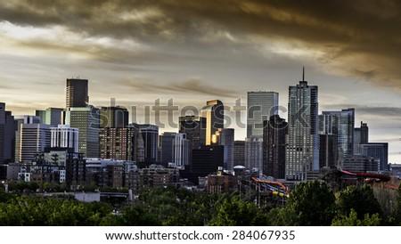 Dramatic sky over Denver Colorado - stock photo