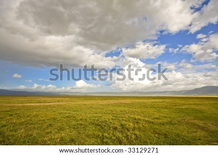 Dramatic Sky over Ngorongoro Crater, Tanzania. - stock photo