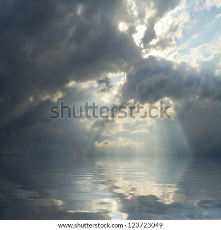 Dramatic sky over sea.  Natural background. Forces of nature concept. - stock photo