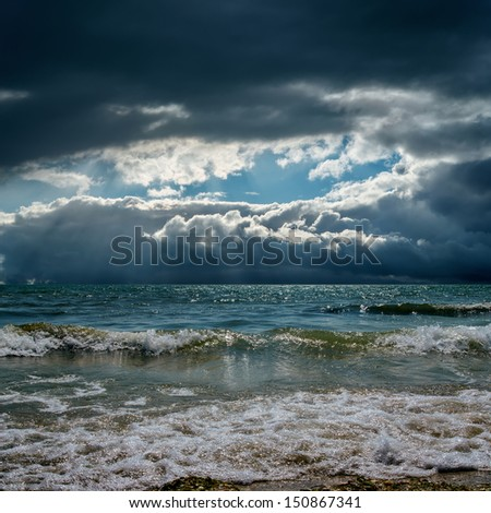 dramatic sky over stormy sky - stock photo