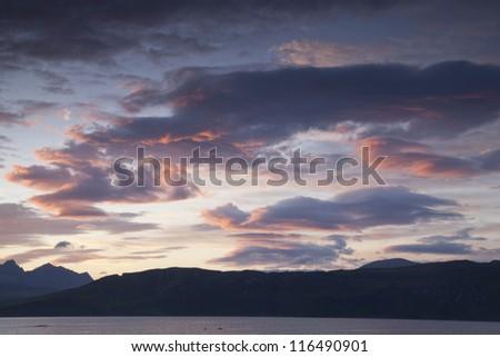 Dramatic Sky over the Cuillin Hills, Isle of Skye, Scotland - stock photo