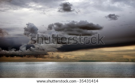 Dramatic sky over the sea late at night