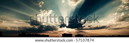 dramatic sky panoramic - stock photo