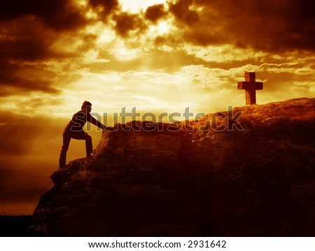 Dramatic sky scenery with a person climbing toward a mountain cross. Symbol of approaching God. - stock photo