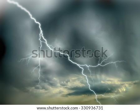 dramatic sky storm - stock photo