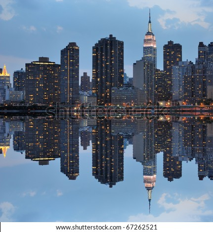 Dramatic Skyline of Manhattan Island in New York City - stock photo