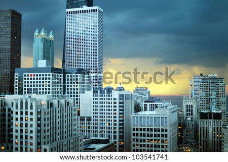 Dramatic stormy sky during sunset above the skyline in Chicago, Illinois